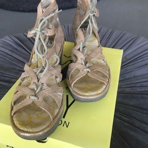 Fly London wedge sandals - leather/suede size 7.5